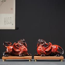 【招财貔貅】陶瓷貔貅(一对、带底座)