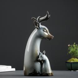 福禄双全——陶瓷麋鹿摆件