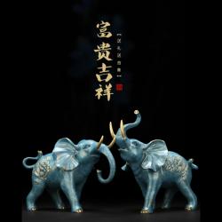 【五行补金】招财吉祥双象纯铜摆件