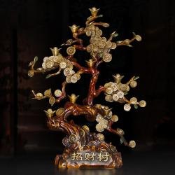 【财源广进】古法失蜡全铜摇钱树(招财旺金)
