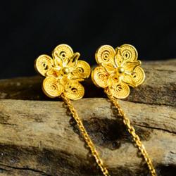【古法金梅】G18K黄金花丝镶嵌镂空梅花耳坠
