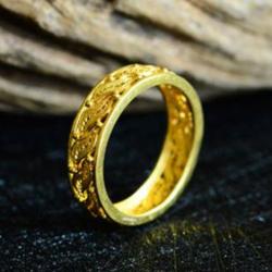【定制】G18K黄金花丝镶嵌镂空编织柳叶子戒指
