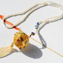 【万向金球】925银掐丝花丝 天然红玛瑙松石万向球故宫香囊吊坠可打开