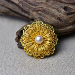 【繁花似锦】925银镀金花丝三层花朵9.5mm珍珠胸针吊坠两用