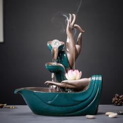【佛手莲心】创意佛手流水器喷泉摆件招财风水轮