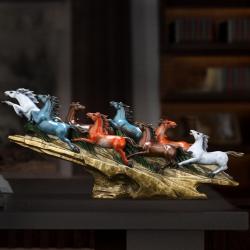 【八骏腾风】马到功成八骏铜马摆件