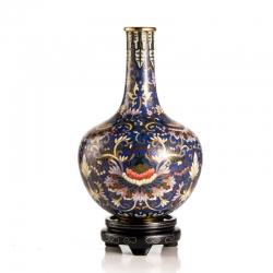 【万代基业】清掐丝珐琅缠枝莲纹天球瓶