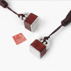 【定制】国风云钮银饰吊坠文创配饰礼物紫檀印章