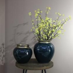 【墨绿金釉】墨绿中式花器