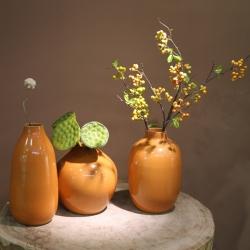 【万事吉利】桔红釉中式仿古花器