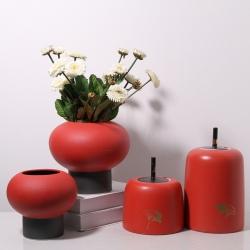 【国潮红黑】手工新中式陶瓷云盖罐