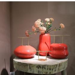【节节高升】中式红釉铜竹节陶瓷摆件花器