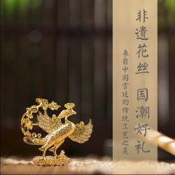 【玄鸟祥鸣】西安博物院金凤花丝16K镀金胸针