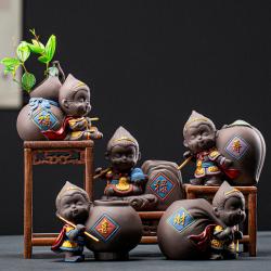 五福临门——福禄寿喜猴花器(含支架)