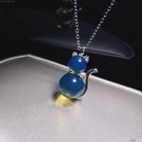 极品  蓝珀双珠  猫咪 锁骨链